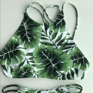 Bikini set with leaves print